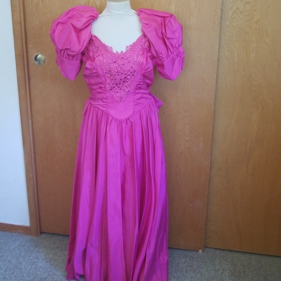 80s Puffy Sleeve Dress with Sequin
